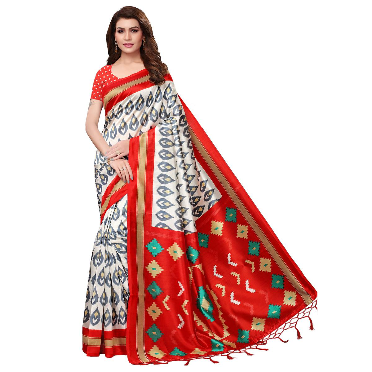 Majesty White-Red Colored Festive Wear Mysore Silk Saree With Tassels