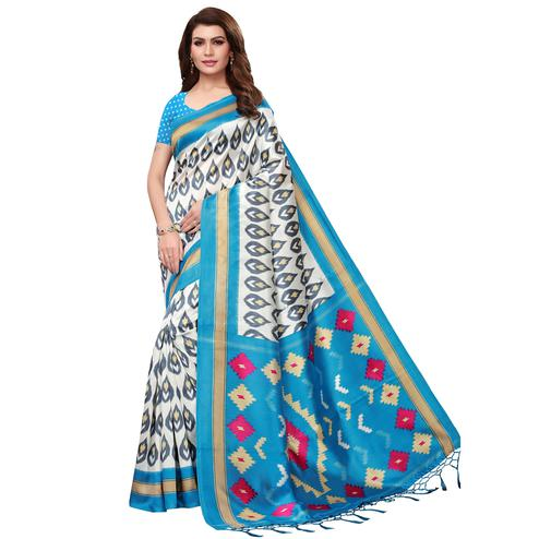 Preferable White-Sky Blue Colored Festive Wear Mysore Silk Saree With Tassels