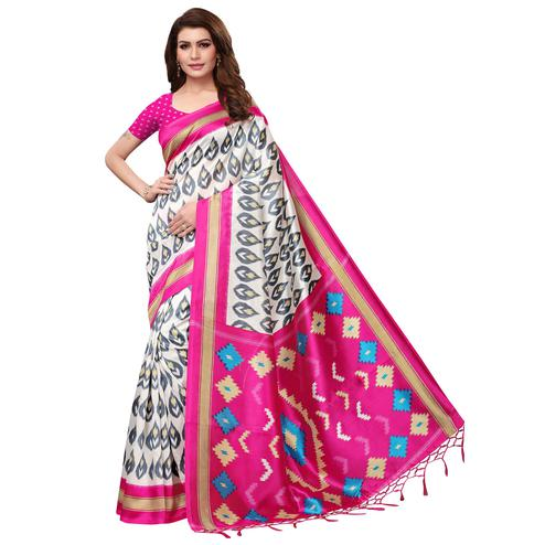 Attractive White-Deep Pink Colored Festive Wear Mysore Silk Saree With Tassels