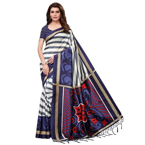 Surpassing Cream-Navy Blue Colored Festive Wear Mysore Silk Saree With Tassels