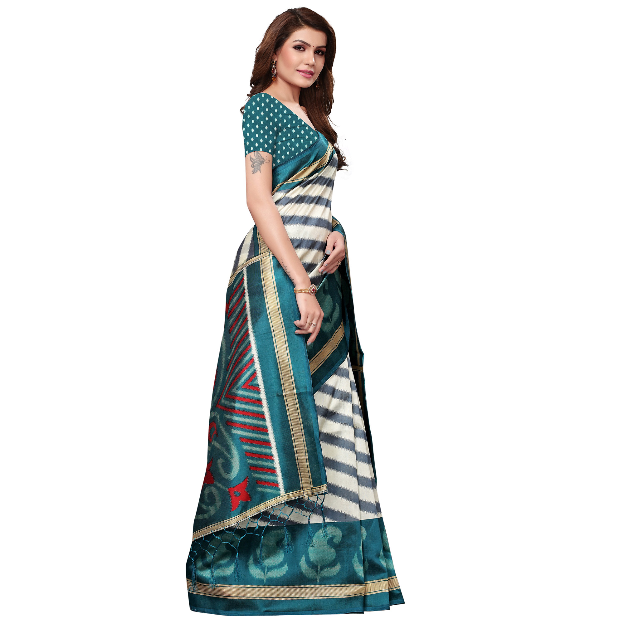 Entrancing Cream-Teal Blue Colored Festive Wear Mysore Silk Saree With Tassels