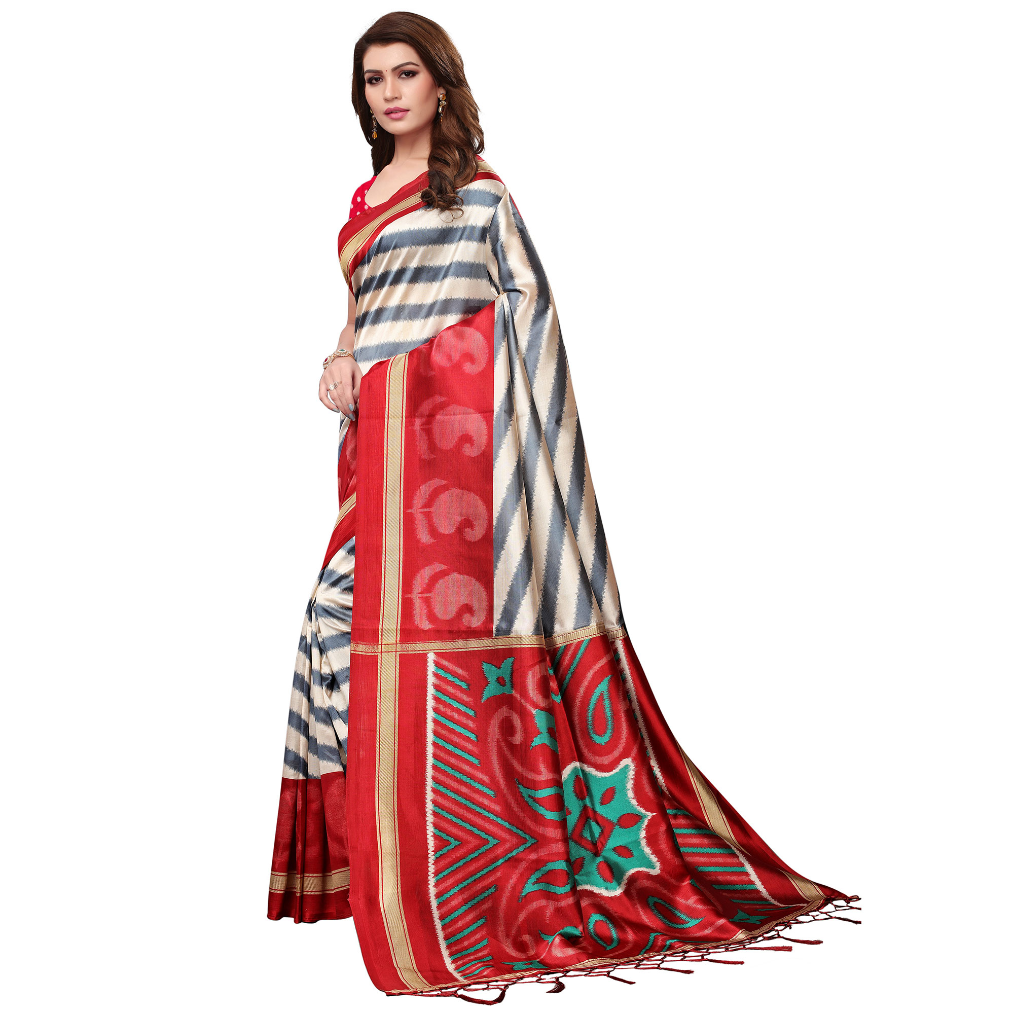 Imposing Cream-Red Colored Festive Wear Mysore Silk Saree With Tassels