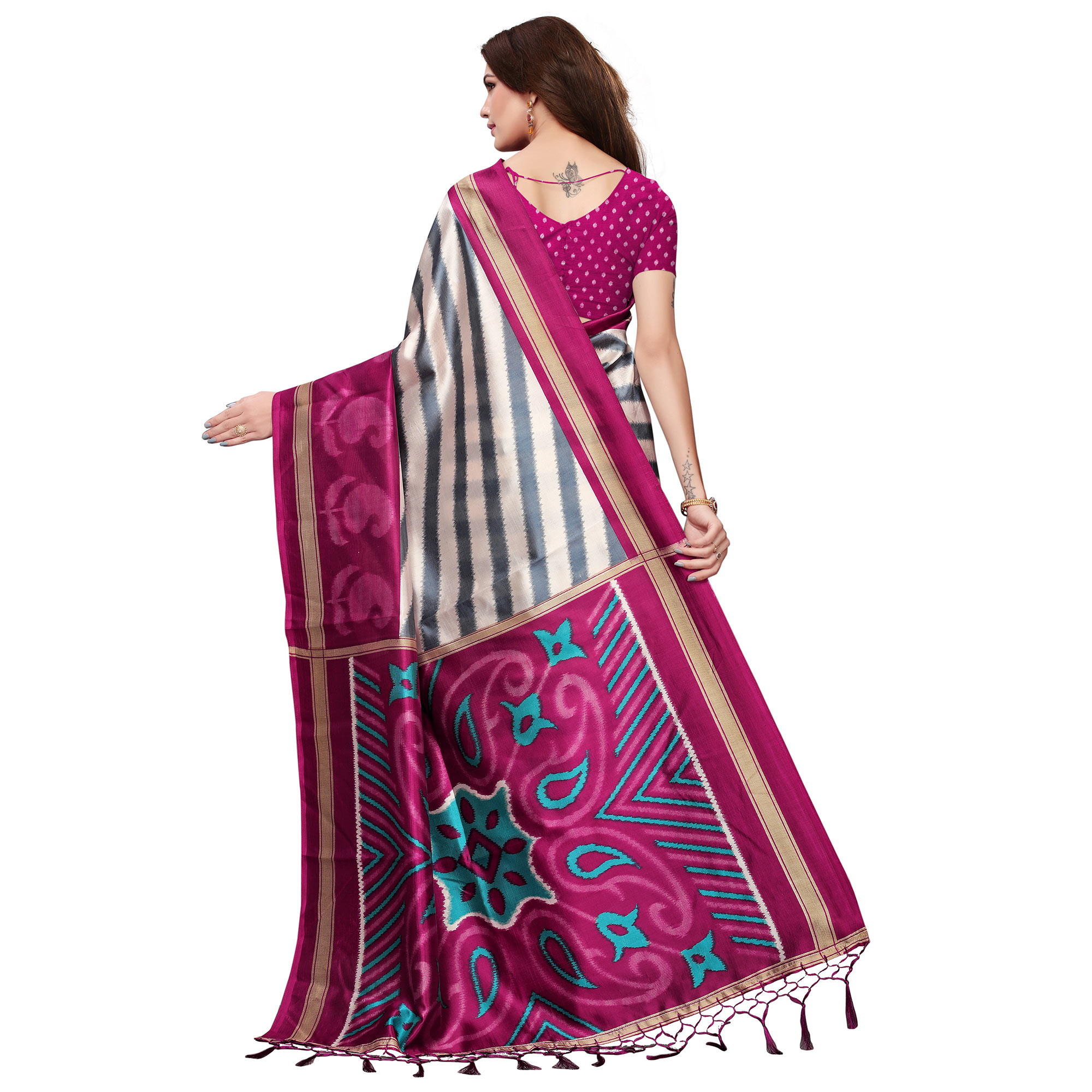 Blissful Cream-Magenta Colored Festive Wear Mysore Silk Saree With Tassels