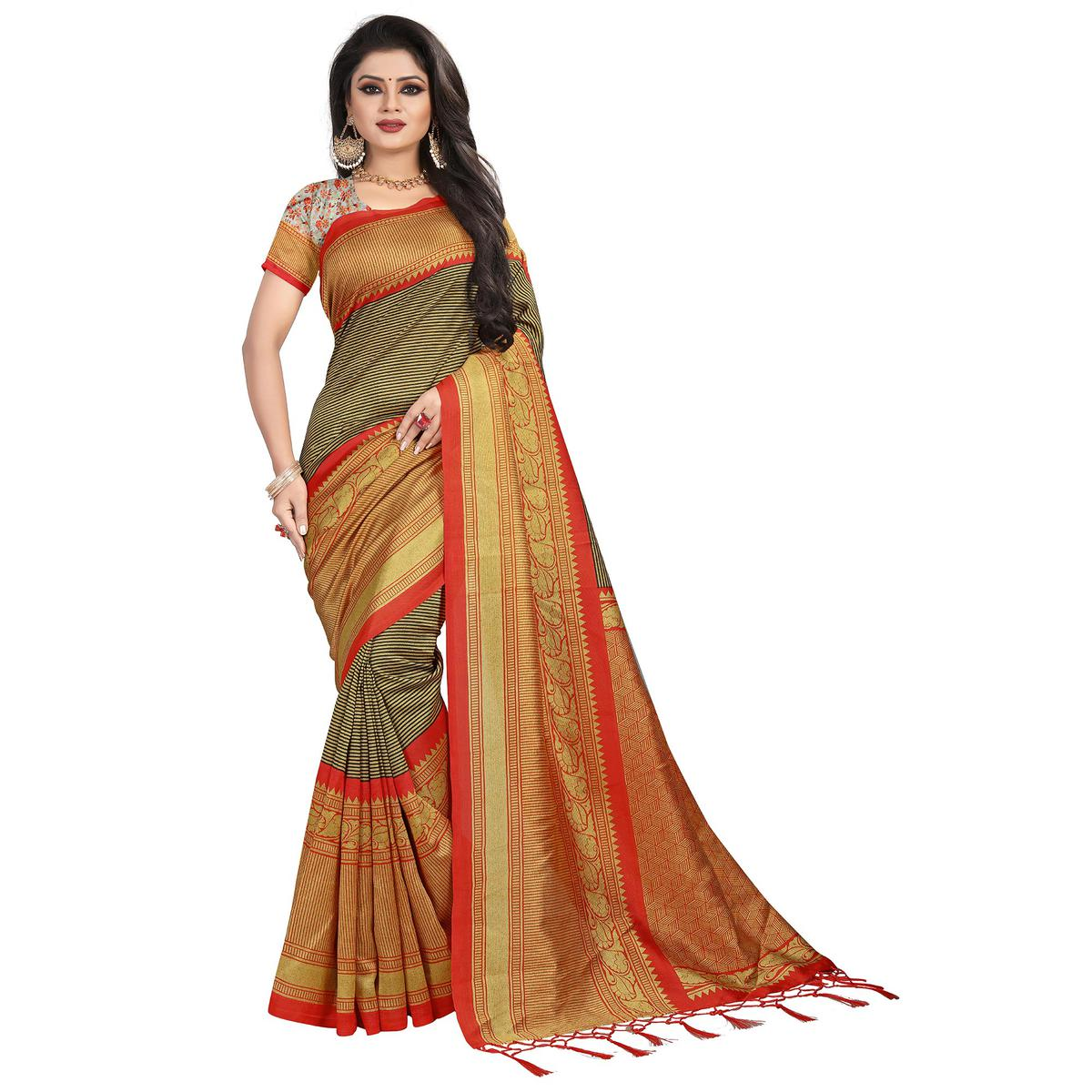 Ideal Mehendi Green-Red Colored Festive Wear Mysore Silk Saree With Tassels