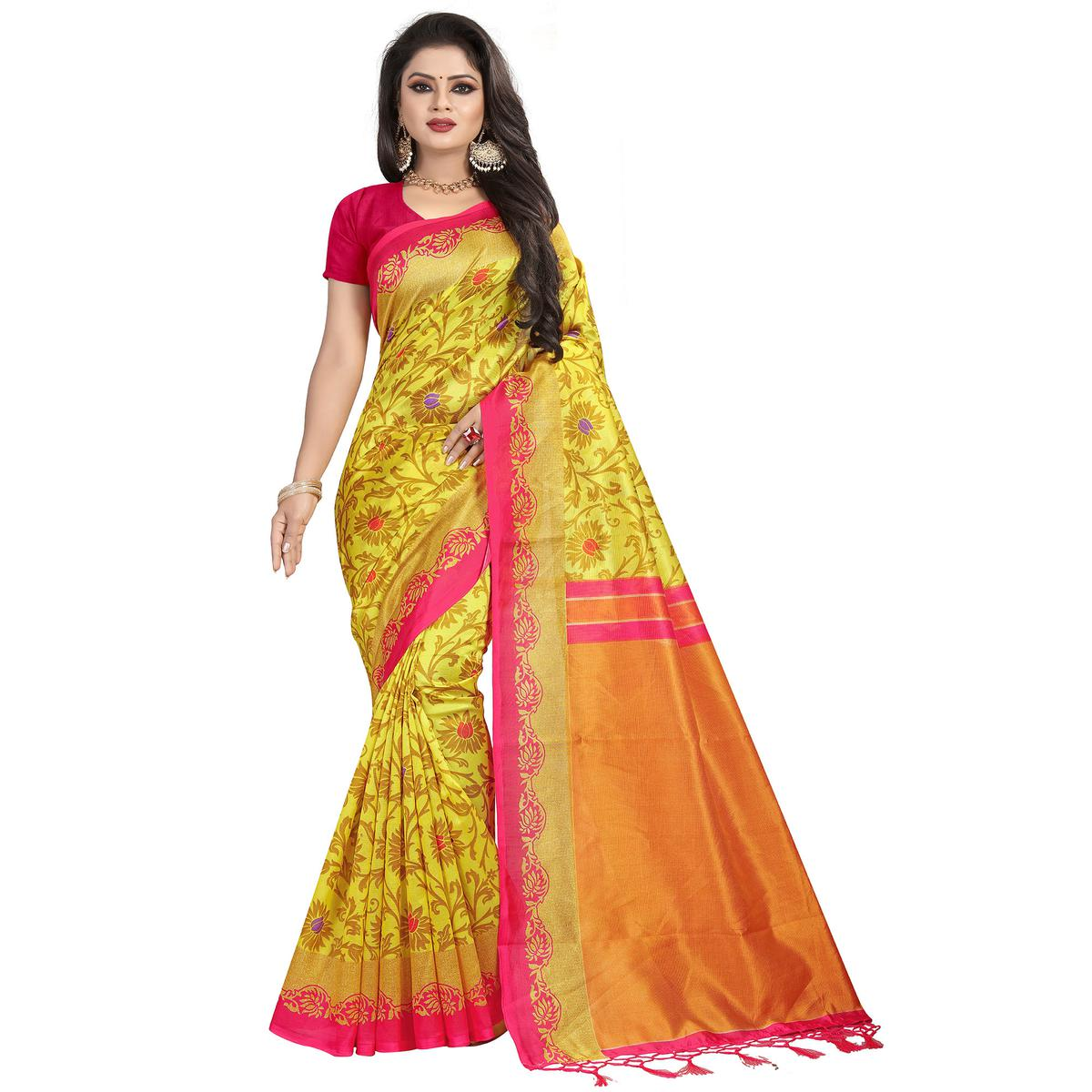 Fantastic Yellow Colored Festive Wear Mysore Silk Saree With Tassels
