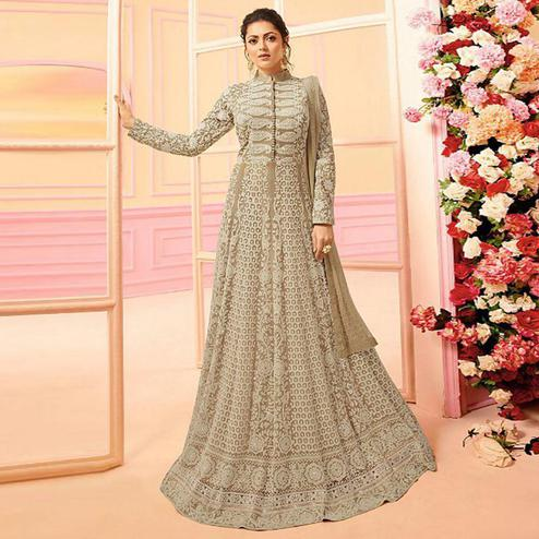 Marvellous Light Brown Colored Partywear Embroidered Netted Abaya Style Anarkali Suit