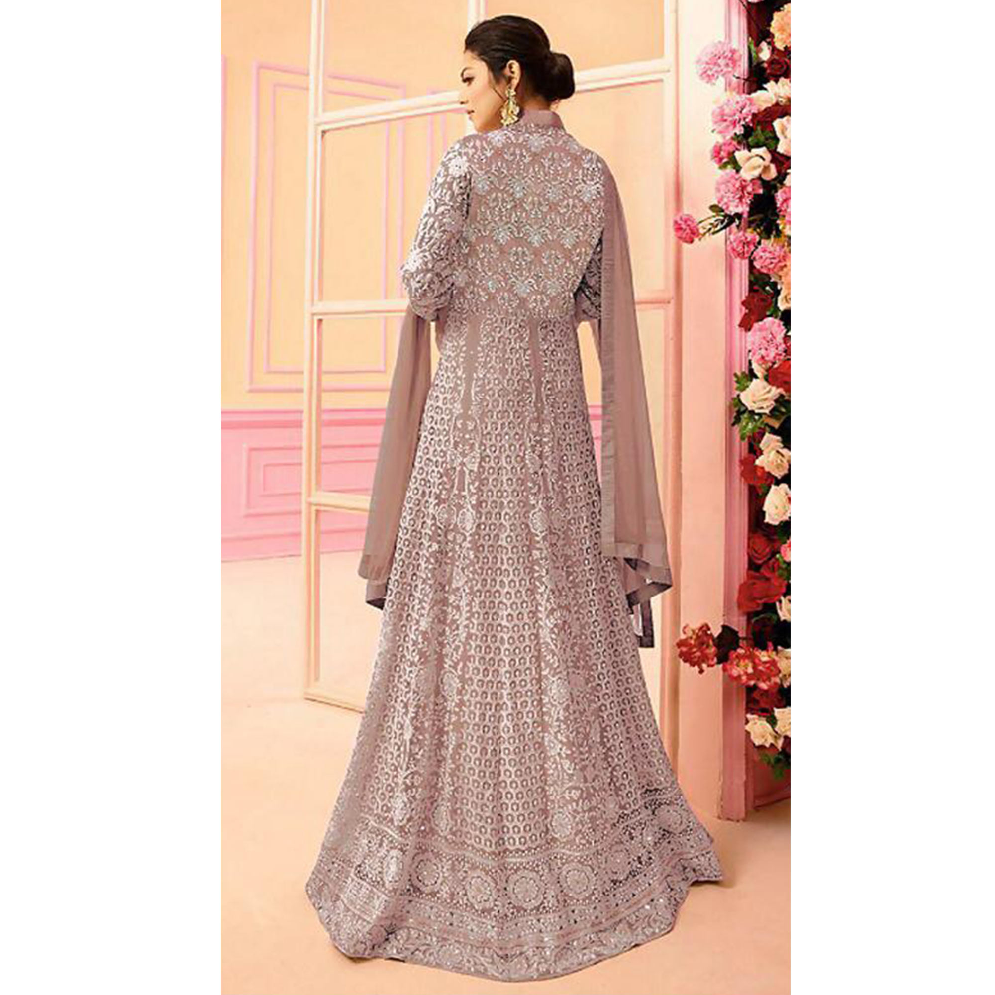Stunning Pastel Pink Colored Partywear Embroidered Netted Abaya Style Anarkali Suit
