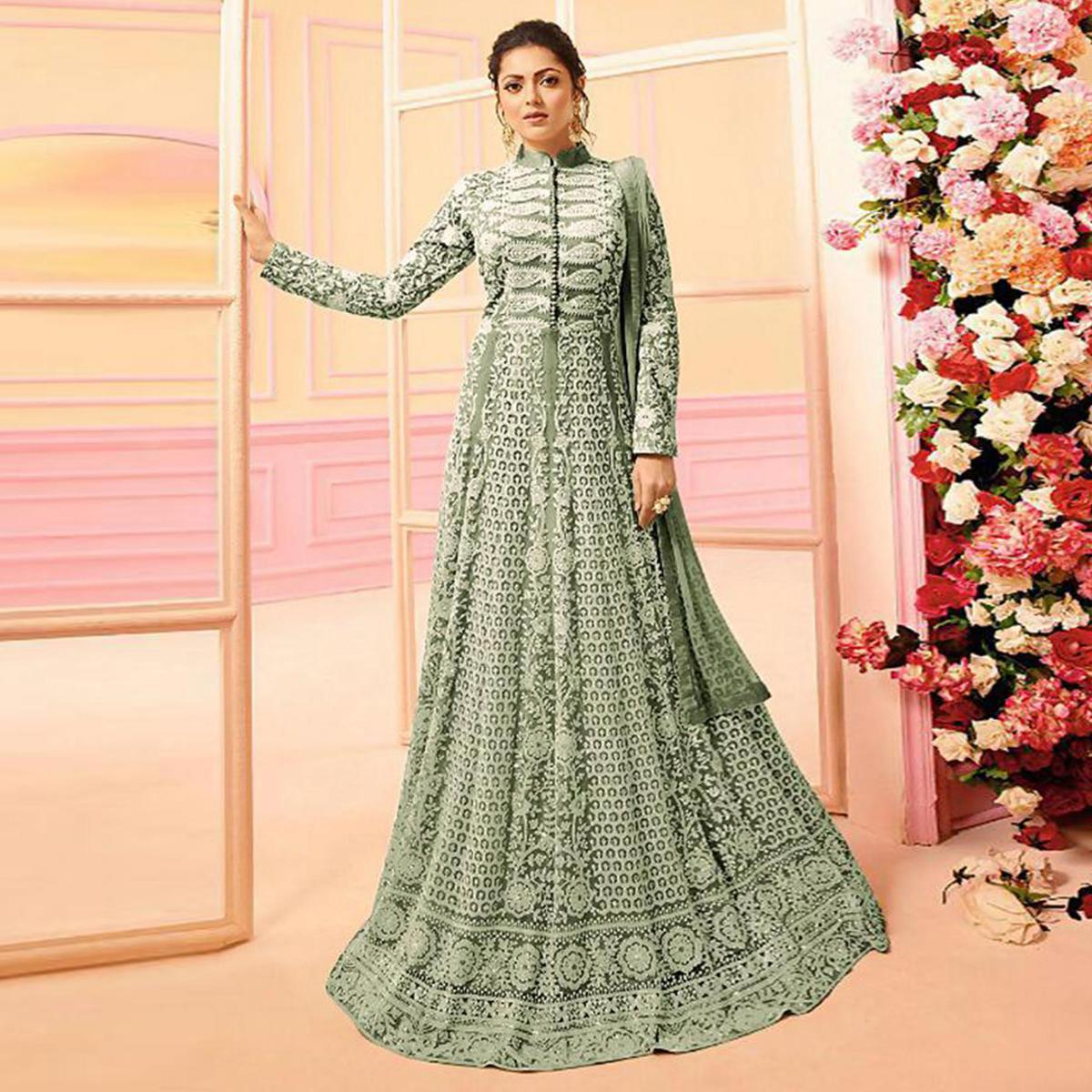 Gorgeous Moss Green Colored Partywear Embroidered Netted Abaya Style Anarkali Suit
