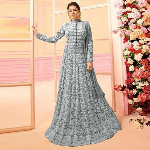 Fantastic Light Gray Colored Partywear Embroidered Netted Abaya Style Anarkali Suit