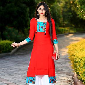Red Pure Heavy Rayon Partywear Designer Kurti