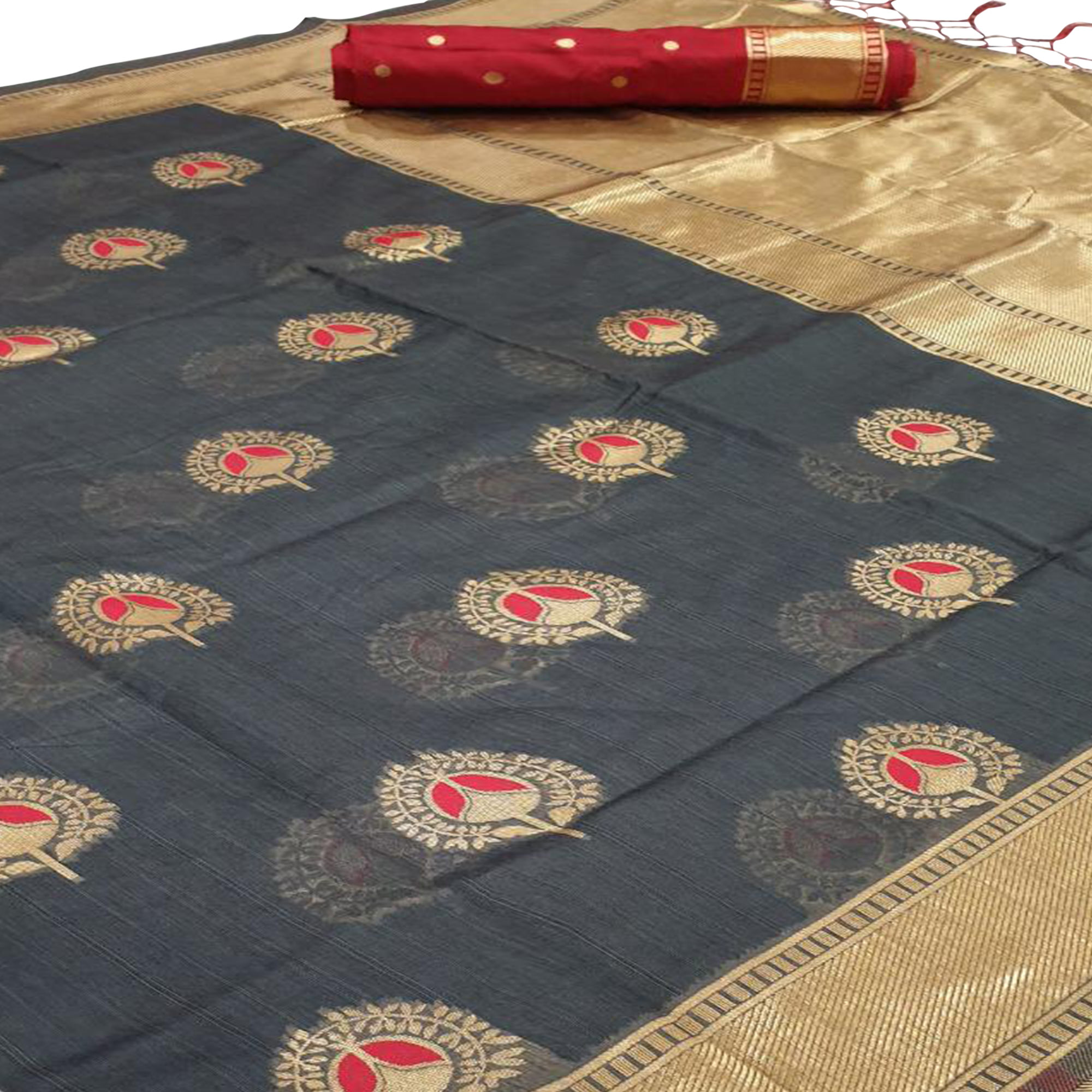 Refreshing Dark Grey Colored Festive Wear Cotton Silk Saree