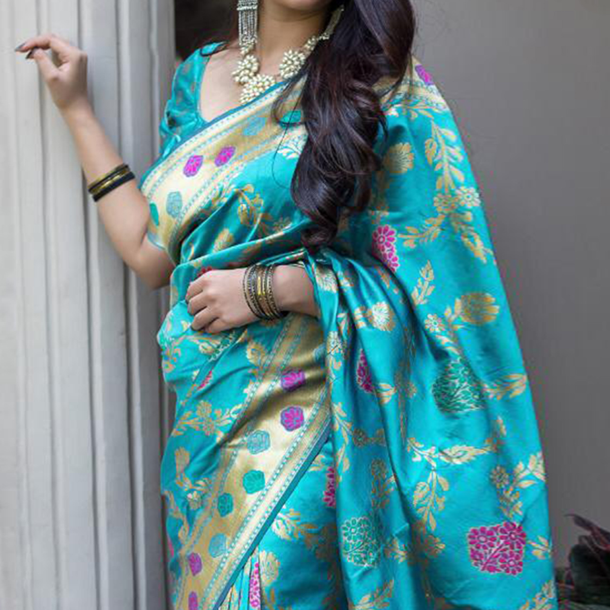 Glorious Sky Blue Colored Festive Wear Woven Banarasi Silk Saree