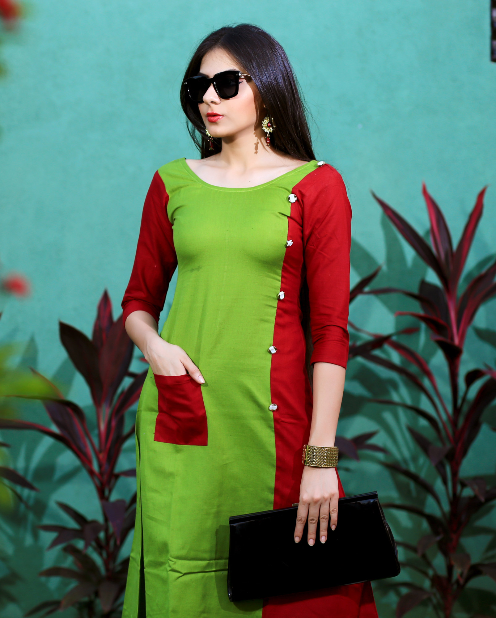 Green Red Pure Heavy Rayon Partywear Designer Kurti