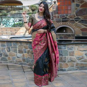 Graceful Black Colored Festive Wear Woven Banarasi Silk Saree
