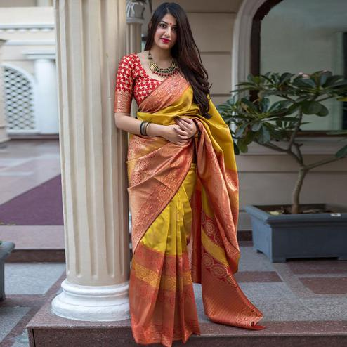 Lovely Mustard Yellow Colored Festive Wear Woven Banarasi Silk Saree