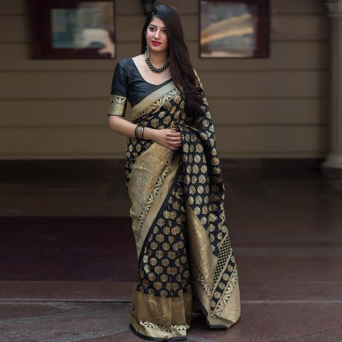 Pretty Black Colored Festive Wear Woven Banarasi Silk Saree