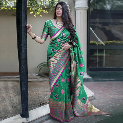 Ravishing Green Colored Festive Wear Woven Banarasi Silk Saree