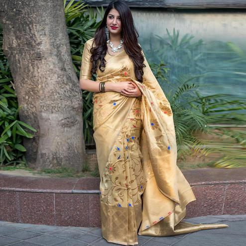 Amazing Beige Colored Festive Wear Woven Banarasi Silk Saree