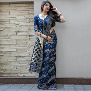 Stunning Navy Blue Colored Festive Wear Woven Banarasi Silk Saree