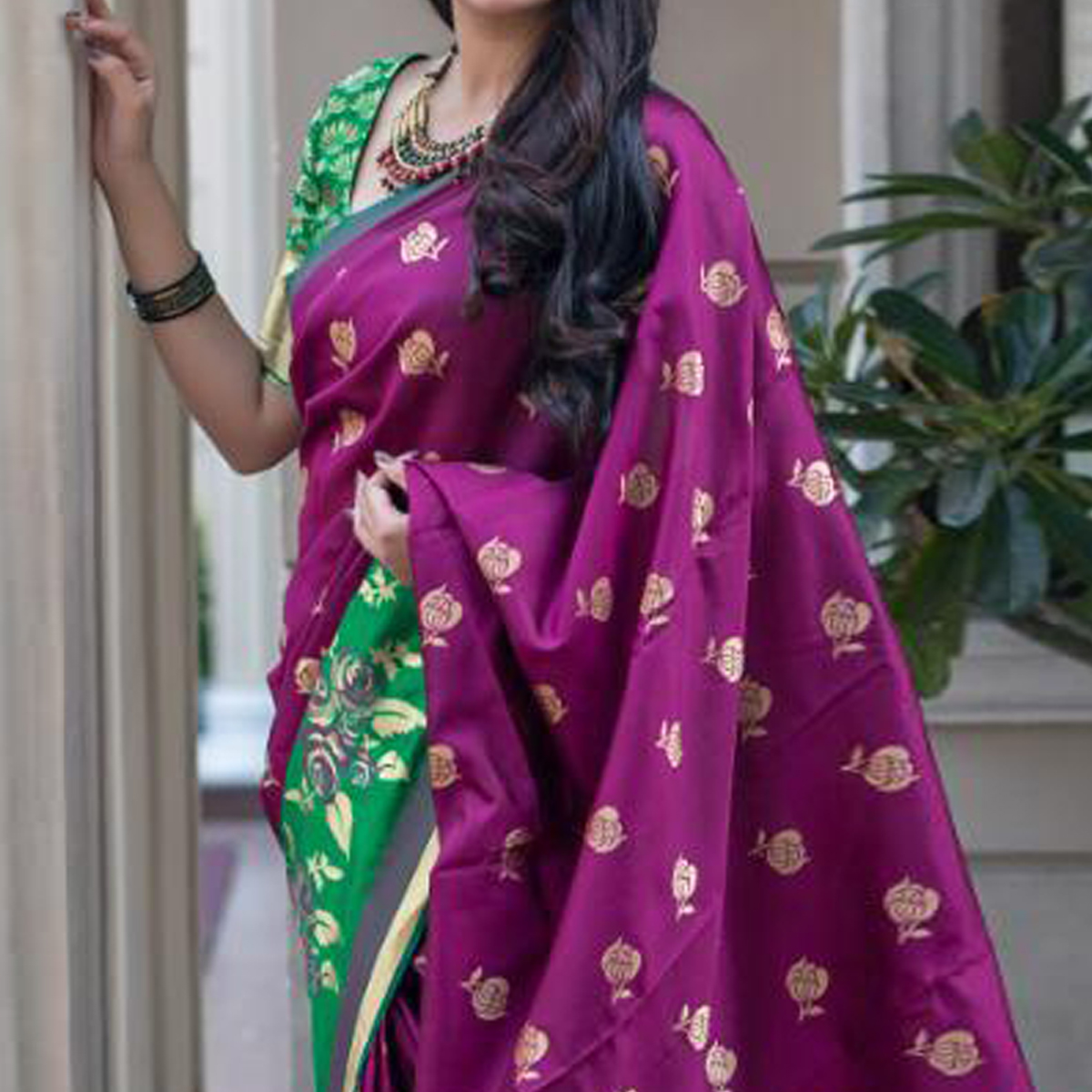 Blooming Magenta Pink Colored Festive Wear Woven Banarasi Silk Saree