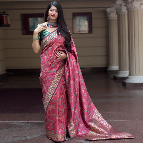 Marvellous Pink Colored Festive Wear Woven Banarasi Silk Saree