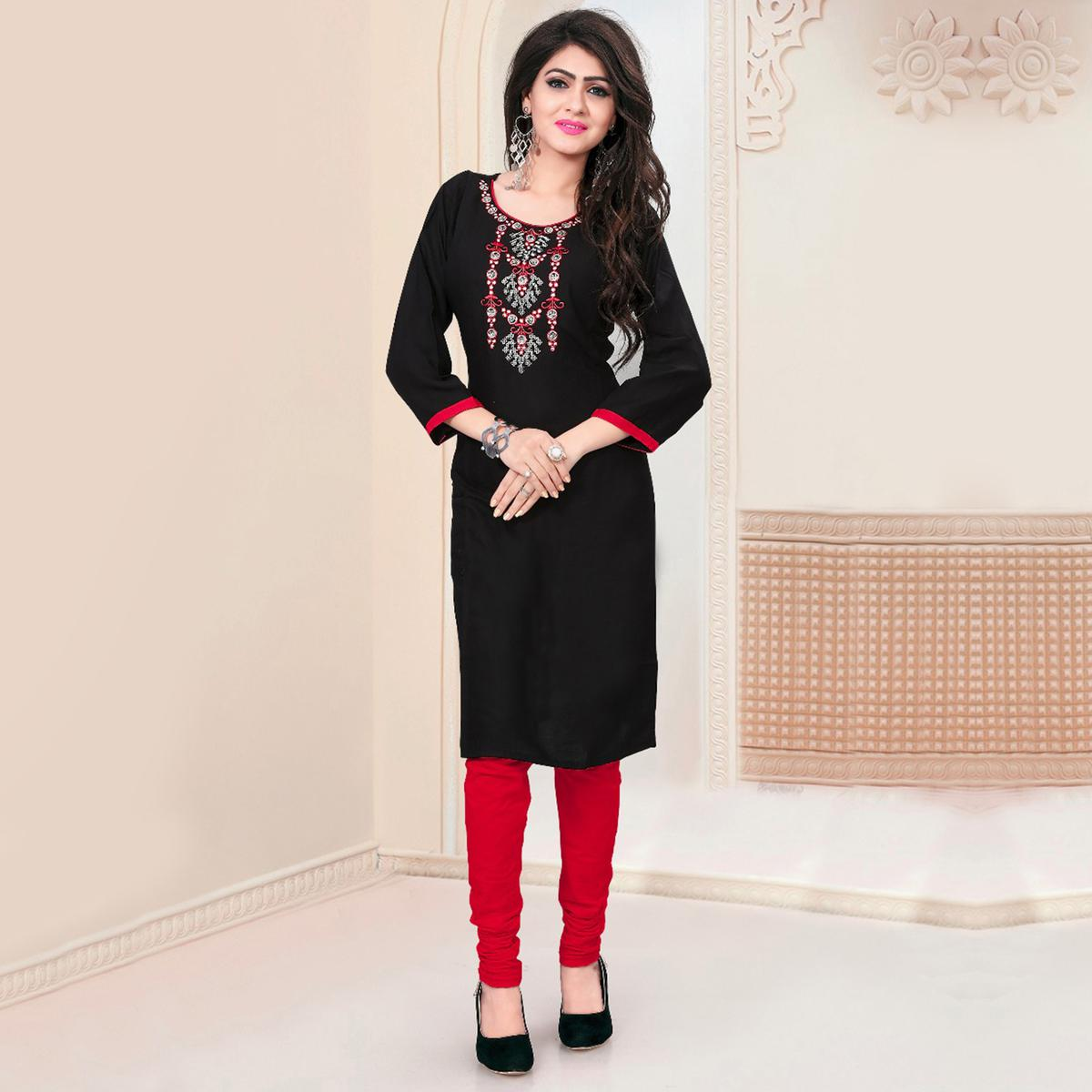 Stunning Black Embroidered Rayon Kurti