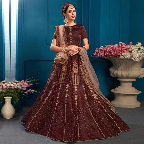 Breathtaking Dark Brown Colored Partywear Embroidered Satin Lehenga Choli