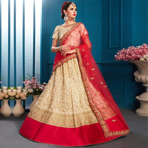 Innovative Beige Colored Partywear Embroidered Satin Lehenga Choli