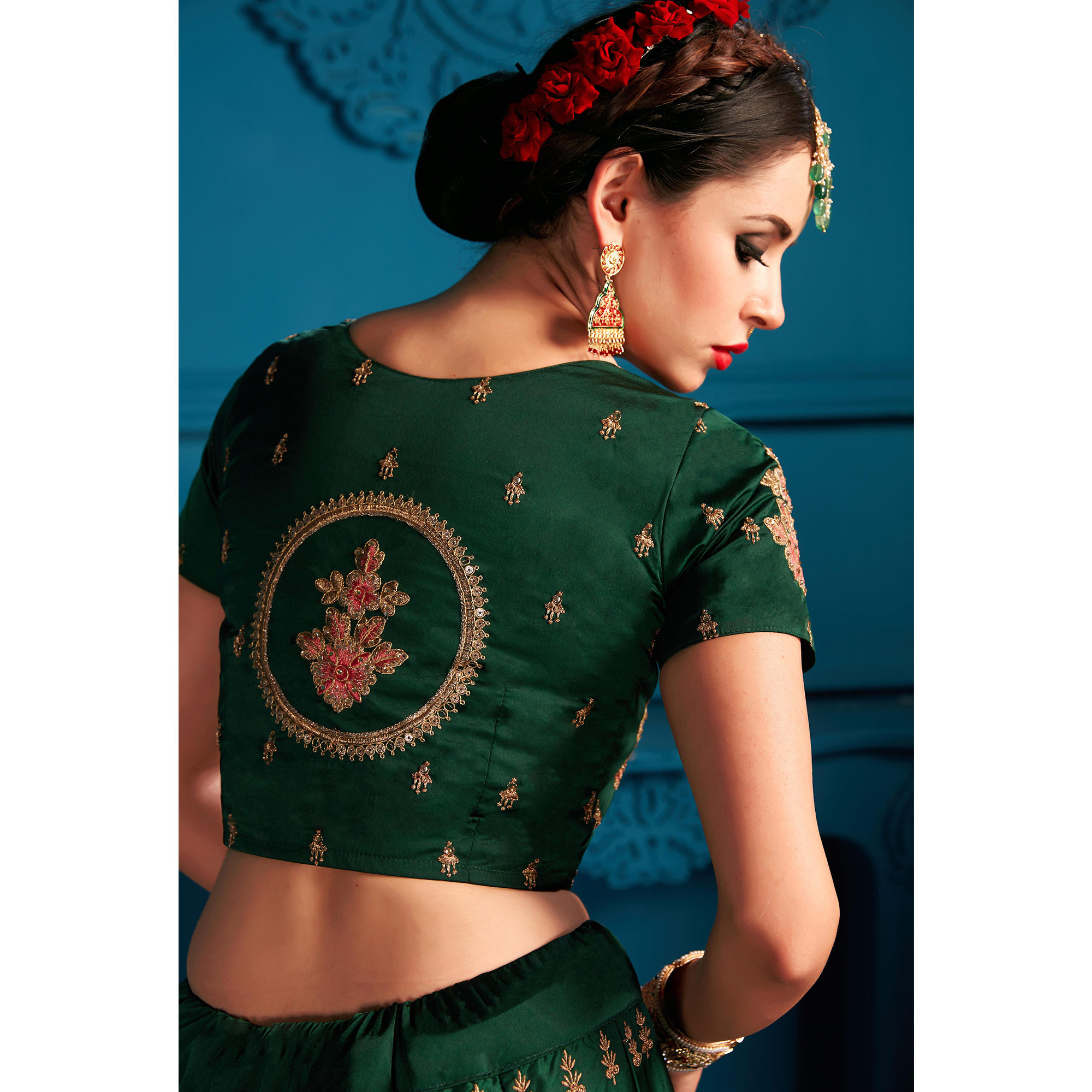 Gleaming Green Colored Partywear Embroidered Satin Lehenga Choli