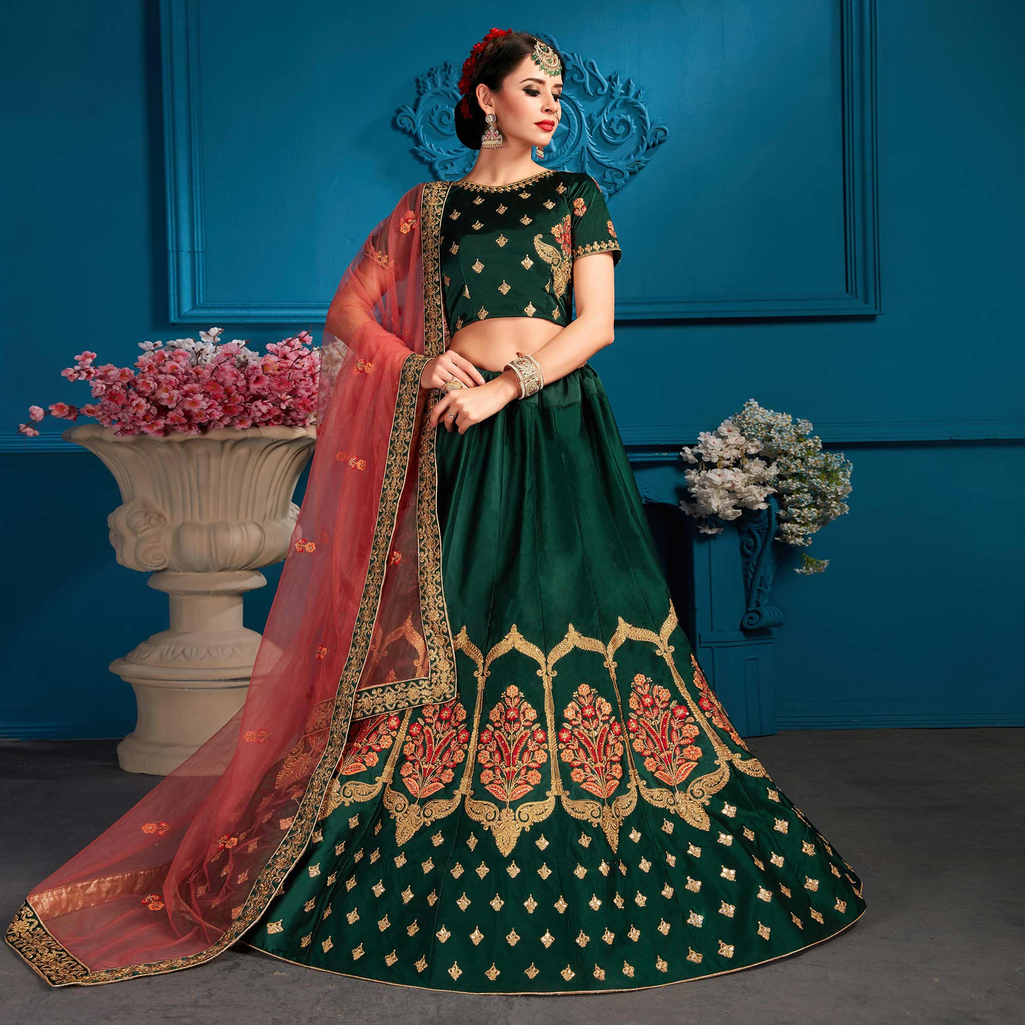 Arresting Green Colored Partywear Embroidered Satin Lehenga Choli