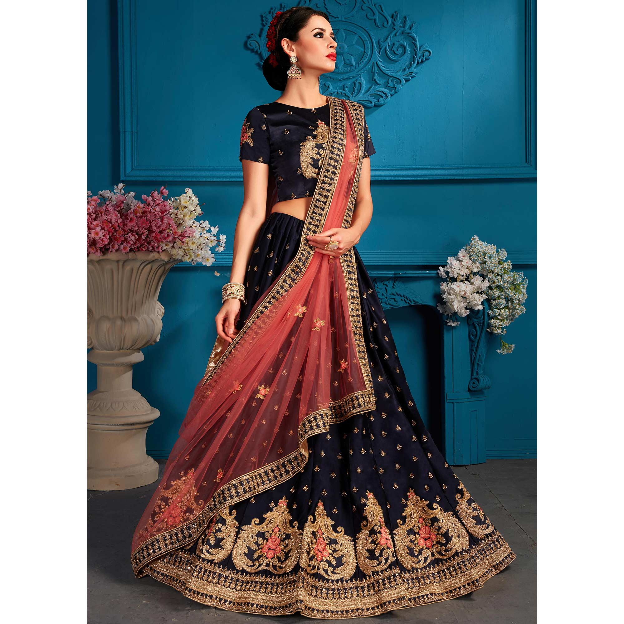 Exceptional Navy blue Colored Partywear Embroidered Satin Lehenga Choli