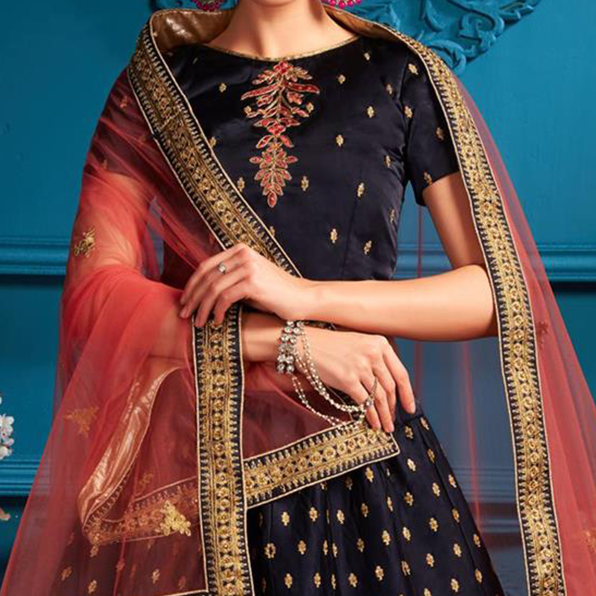 Starring Navy blue Colored Partywear Embroidered Satin Lehenga Choli