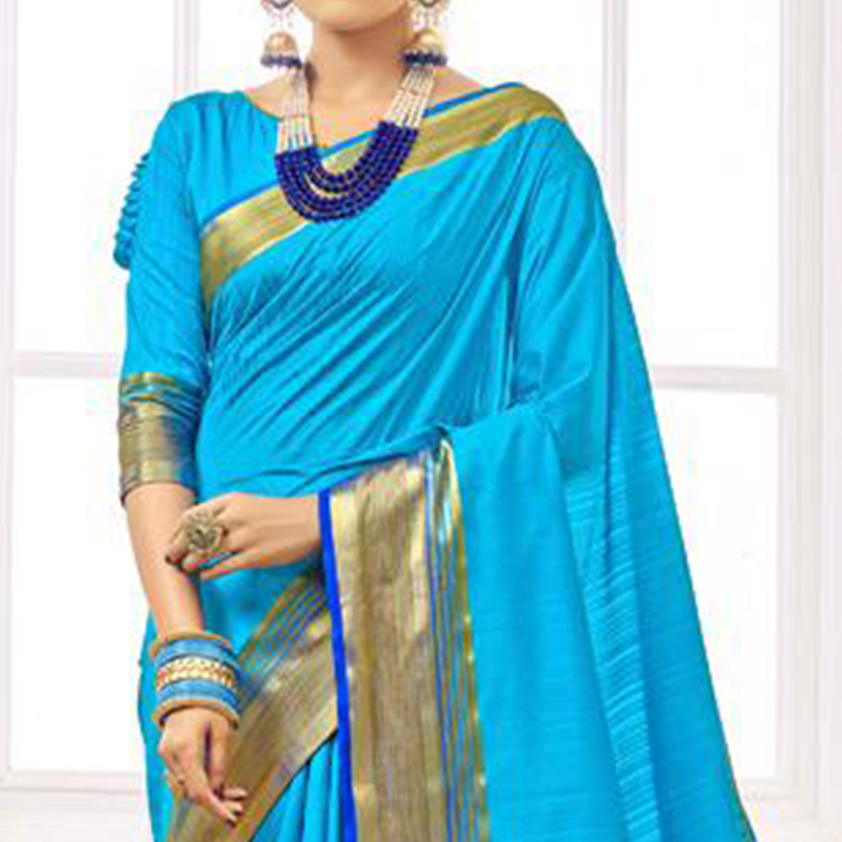 Ethnic Sky Blue Colored Festive Wear Woven Cotton Silk Saree
