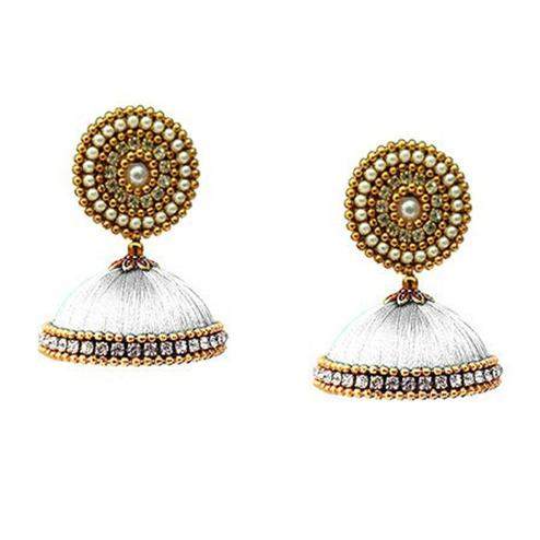 Gorgeous White Colored Stone Work Resham Thread Earrings