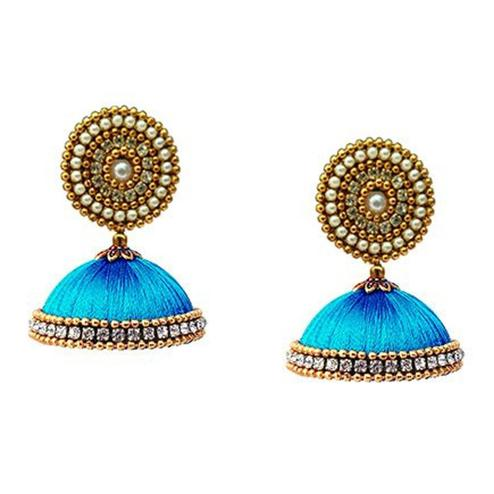 Glorious Turquoise Blue Colored Stone Work Resham Thread Earrings
