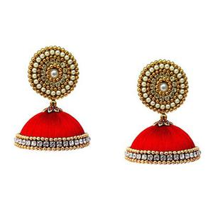 Lovely Red Colored Stone Work Resham Thread Earrings