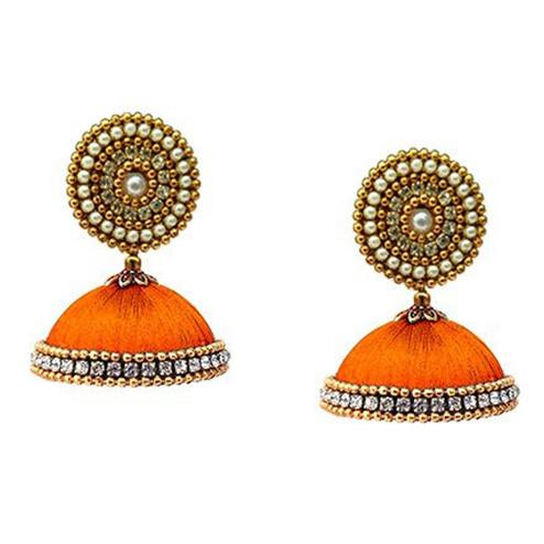 Charming Orange Colored Stone Work Resham Thread Earrings