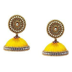 Delightful Yellow Colored Stone Work Resham Thread Earrings