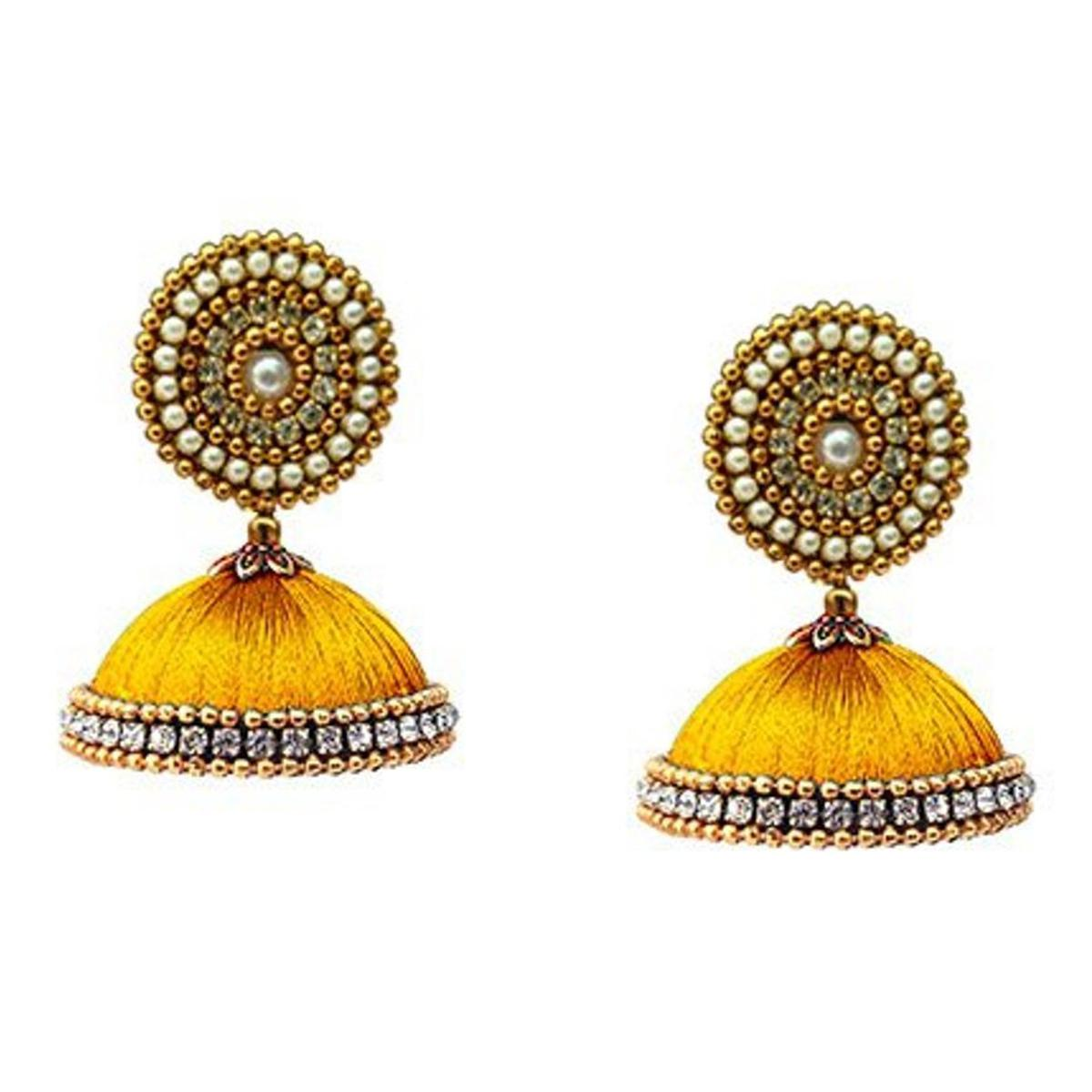 Blooming Mustard Yellow Colored Stone Work Resham Thread Earrings