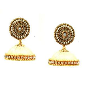Marvellous Cream Colored Stone Work Resham Thread Earrings