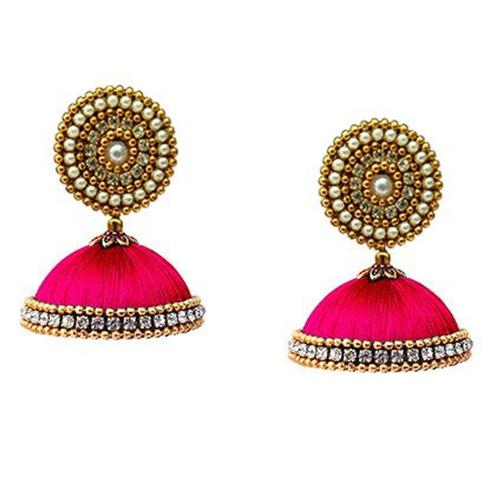 Ravishing Dark Pink Colored Stone Work Resham Thread Earrings
