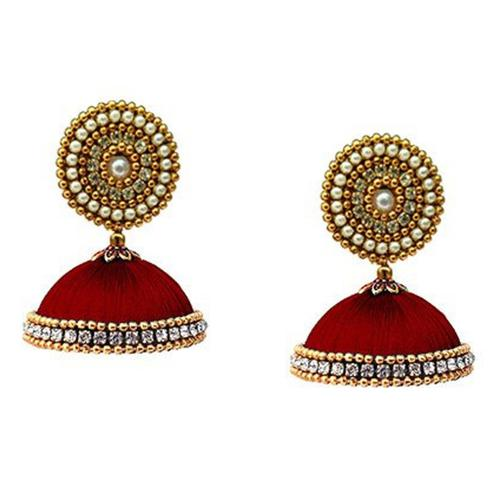Eye-catching Maroon Colored Stone Work Resham Thread Earrings