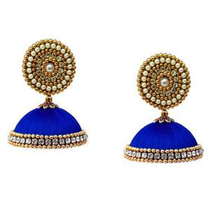 Amazing Royal Blue Colored Stone Work Resham Thread Earrings