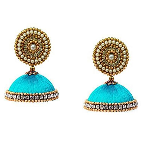 Majesty Sky Blue Colored Stone Work Resham Thread Earrings