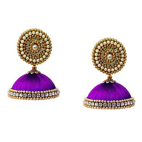 Preferable Purple Colored Stone Work Resham Thread Earrings