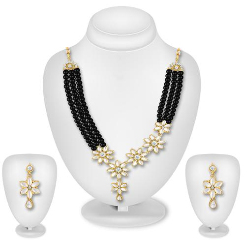 Intricate Black Colored Pearl Work Mix Metal Necklace Set