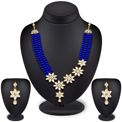 Desirable Royal Blue Colored Pearl Work Mix Metal Necklace Set