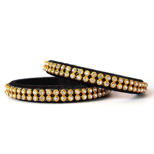 Elegant Black Colored Festive Wear Stone Work Resham Thread Bangles
