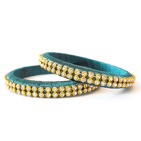Alluring Turquoise Blue Colored Festive Wear Stone Work Resham Thread Bangles