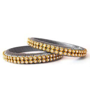 Radiant Grey Colored Festive Wear Stone Work Resham Thread Bangles